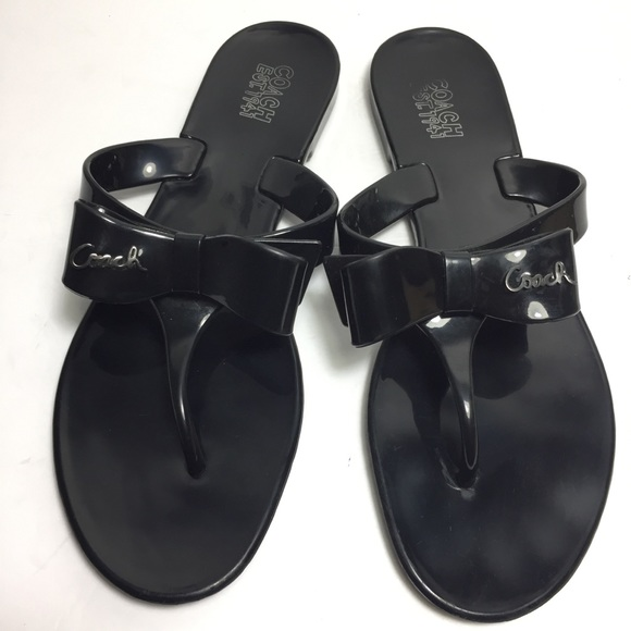 33adcc0ac1de75 Coach Shoes - Authentic Coach Pretty black jelly bow sandal